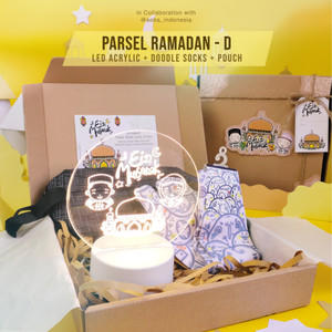 Parsel Ramadan D - LED Acrylic + Doodle Socks + Pouch   Hamper Lebaran