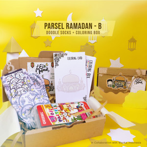 Parsel Ramadan B - Doodle Socks + Coloring Box   Hampers Eid Mubarak
