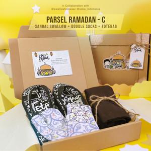 Parsel Ramadan C - Sandal Swallow + Doodle Socks + Totebag   Hampers