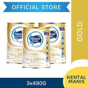 Frisian Flag Bendera Kental Manis Full Cream Gold Kaleng 490g [3 pcs]