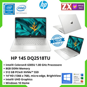 "LAPTOP HP 14S-DQ2518TU INTEL CELERON 6305U 8GB 512GB 14"" WIN 10 + OHS"