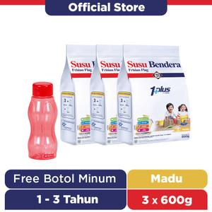 Susu Bendera 1+ Susu Bubuk 1-3 Tahun Madu 600g [3 pcs] Free Botol