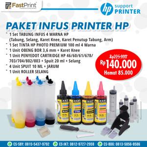 Paket Lengkap Tabung Infus Printer HP Plus Tinta Refill dan Dumper