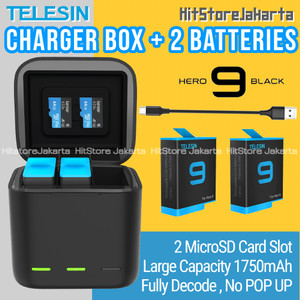 Telesin 3 Slot Charger Box GoPro Hero 9 Black Baterai Charger Box