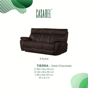 Sofa Kulit Asli Recliner Minimalis CASABEL TIERRA 3 Kursi - Dark Choco