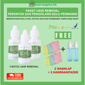 Paket Perontok Bulu Kaki Tangan Ketiak Permanen Green Angelica - 3 btl