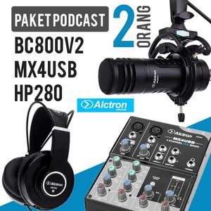 PAKET PODCAST 2 ORANG ALCTRON DYNAMIC MIC BC800V2, MX4USB