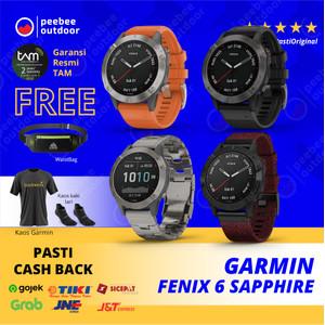 GARMIN FENIX 6 SAPPHIRE DLC WITH BLACK BAND - GARANSI TAM 2 TAHUN