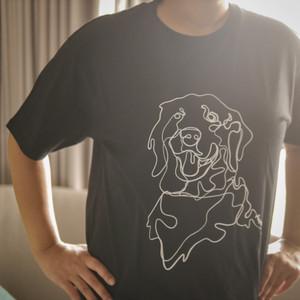 Golden Retriever • Unisex Black T-Shirt • by The Space Wanderer