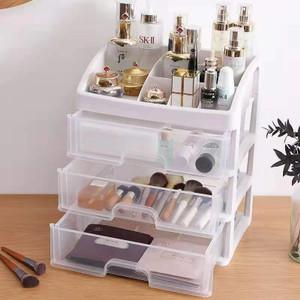 Rak Kosmetik Makeup Storage Plastic Box 3 Laci susun Kotak penyimpanan