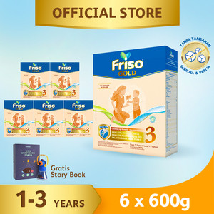 Friso Gold 3 Susu Formula Pertumbuhan Batita 600g [6 pcs] Free Gift