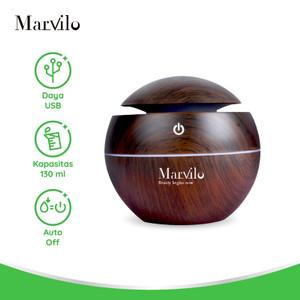 Marvilo Humidifier Pelembab Ruangan Bentuk Bulat Dengan Aksen Kayu