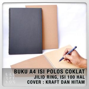 BUKU SPIRAL A4 ISI COKLAT NOTEBOOK BROWN PAPER COVER KRAFT BLACK