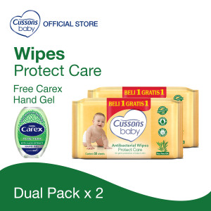 Cussons Baby Wipes Protect Care FREE Carex Hand Gel UK Aloe Vera