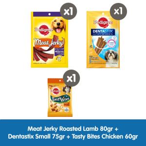 Pedigree Meat Jerky,Dentastix,Tasty Bites (Snack&Treats Starter Pack)