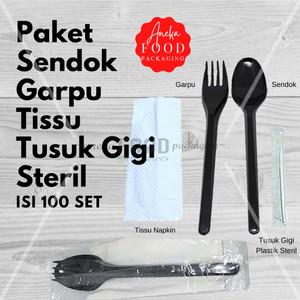 Paket sendok garpu tissu HITAM set steril bungkus satuan higienis