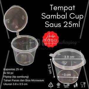 Tempat saos plastik 25ml thinwall/cup sambal/container saus fliptop