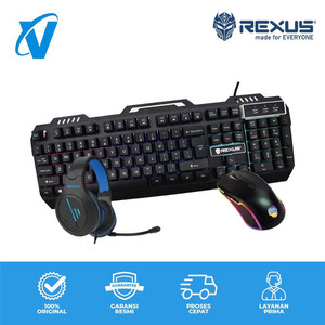 REXUS Warfaction VR3 MAX Combo Keyboard Mouse Headset Gaming