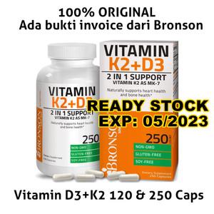 BRONSON Vitamin D3 + K2 (MK7) 5000IU 120caps, 250 caps, 360caps