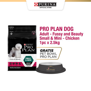 PRO PLAN Adult Dog Fussy Beauty Small Mini Chicken 2.5kg Free Pet Bowl