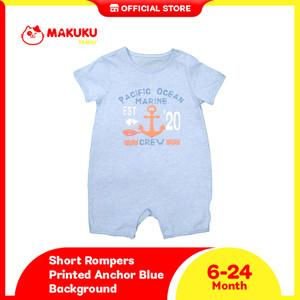 Makuku Short Rompers Printed Anchor Blue / Jumpsuit Anak