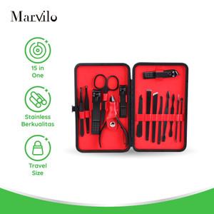 Marvilo Set Alat Menicure Pedicure 15 Pcs Hitam