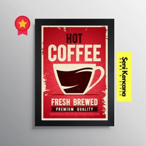 Vintage Poster Coffee Dinding Cafe Frame Bingkai Kayu Premium SK99F