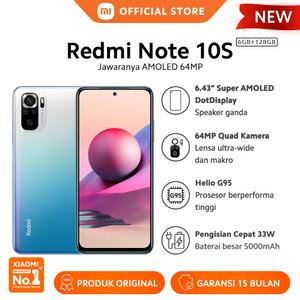 "Xiaomi Redmi Note 10S 6/128G NFC Layar 6.43"" Super AMOLED Smart HP"