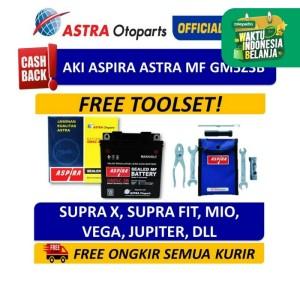 Aki ASPIRA GM5Z3B MF(5 Ah)-Aki Motor Supra,Mio,Jupiter Z,Tornado,Vega