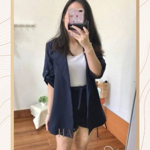 Setelan Semi Formal Pesta Wanita Blazer Blouse Celana Pendek Murah