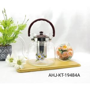 Glass Teapot Maker Teko Teh Kaca Dengan Saringan 1800ml Teko Teh Kopi
