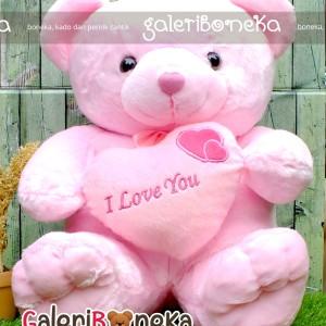 Boneka Teddy Bear Love Pink Ukaran Besar ( BT - 324253 )