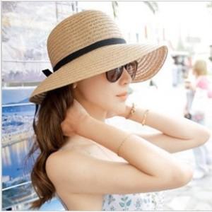 topi pantai dengan pita / bow beach sun hat JTO002