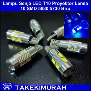 Lampu Senja LED T10 Proyektor Lensa 10 SMD 5630 5730 Biru