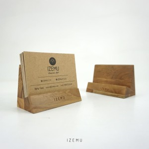 IZEMU JIROU - Business Card Display Stand in Teak / Dudukan Kartu Jati