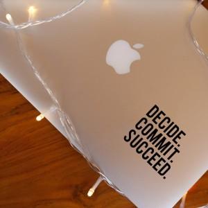 Decal Sticker Macbook Apple Stiker Decide Commit Succeed Quote Laptop