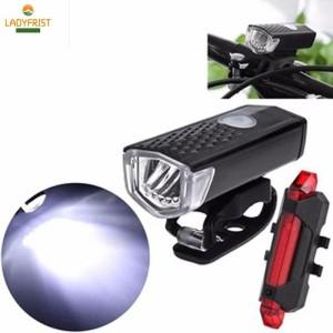 lampu sepeda depan dan lampu belakang senter usb isi ulang waterproof