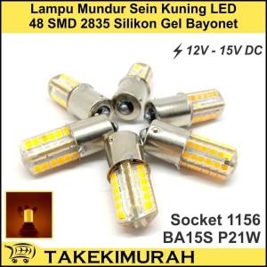 Lampu Sein Mobil LED 48 Mata 2835 Kuning Bayonet BA15S P21W 12V