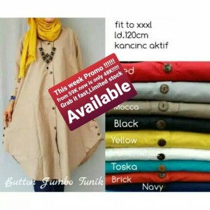 Baju Atasan Blouse Tunik Buttom jumbo Wanita Baju Muslim Blouse
