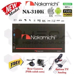 Nakamichi NA-3100i AutoLink Tape Mobil TV Head Unit Double Din + Cam