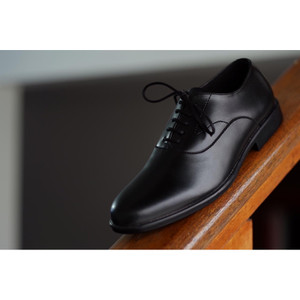 Sepatu Oxford Pantofel Kulit Formal Kerja Pria - WORKA OXFORD BLACK