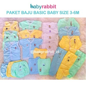Paket Baju Bayi 3-6 Bulan Hachi Basic / Pakaian untuk Bayi Baru Lahir