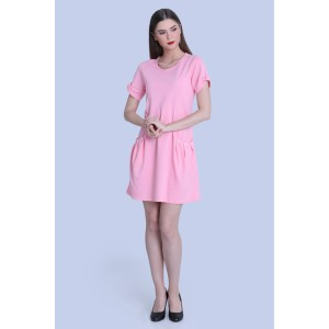 Dress Wanita Miyoshi Josei MJ18DR128WT Baby Pink Knitting