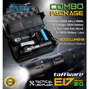 PAKET Senter LED Tactical CREE XM-L2 8000L Aluminium 5 MODE Kedip