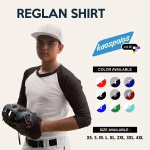Kaos Raglan / Kaos Reglan Polos Lengan 3/4 Super Cotton 20s Unisex