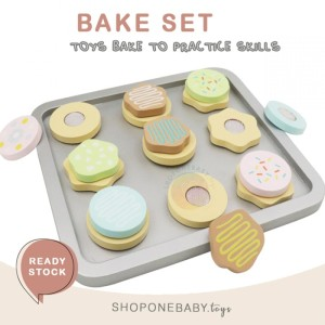 Leo & Friends Bake Set Cookie Wooden Toys with Baking Oven Tray Mainan
