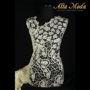 Alta Moda Brokat Prada Bunga Kecil Renda Jaring Putih Gading