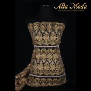 Alta Moda Brokat Prada Bunga Liontin Renda Gold (1M)