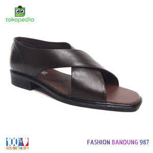 Sepatu sandal pria kenip model silang bahan kulit asli bapak bapak