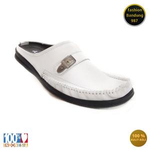 sepatu sandal pria putih model selop bustong pria kulit asli ARB007